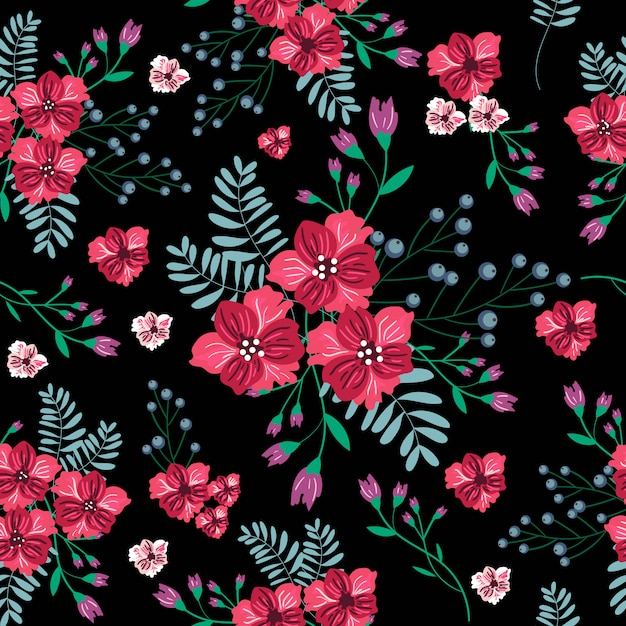 Vintage red flower seamless pattern Premium Vector