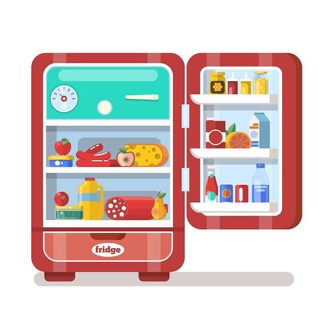 Vintage Red Opened Refrigerator Full Of Food Flat Vector Premium Vector