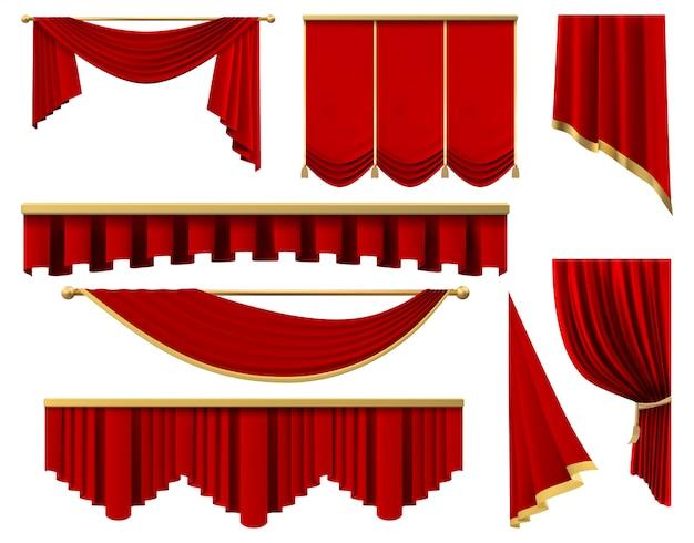 ヴィンテージの赤い現実的なカーテン。豪華な緋色の布のカーテン、シルクインテリアランブレキンカーテンのイラストセットをステージします。劇場や映画の要素に最適な黄金色のプレミア赤いポルティエ Premiumベクター