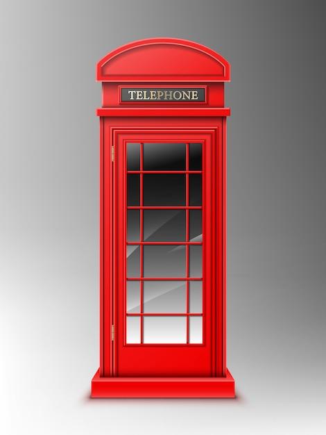 Винтажная красная телефонная будка, классическая коробка телефона лондона ретро. Бесплатные векторы