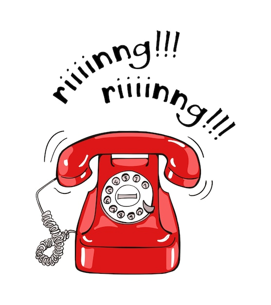 Vintage red telephone hand drawn illustration. sketch style Premium Vector