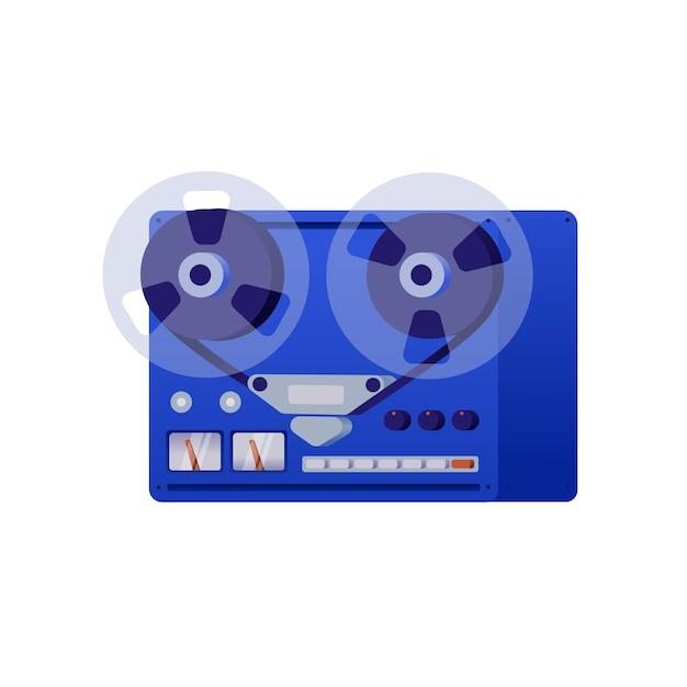 Винтаж катушечный магнитофон. иллюстрация в стиле ретро, белый фон. Premium векторы