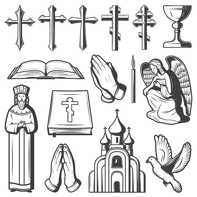 ヴィンテージの宗教的な要素のコレクション 無料ベクター
