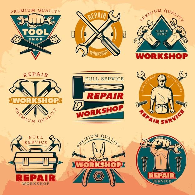 Эмблема винтаж ремонт мастерской Бесплатные векторы
