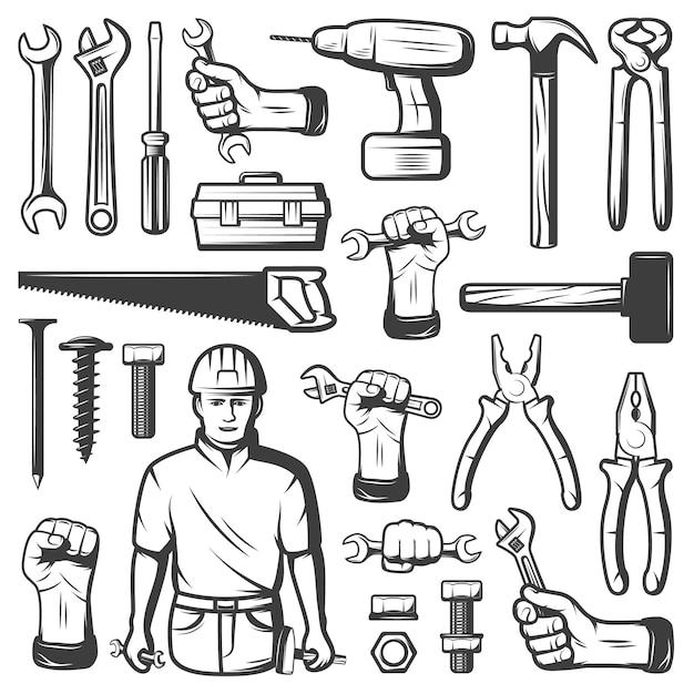 Vintage repair workshop icon set Free Vector