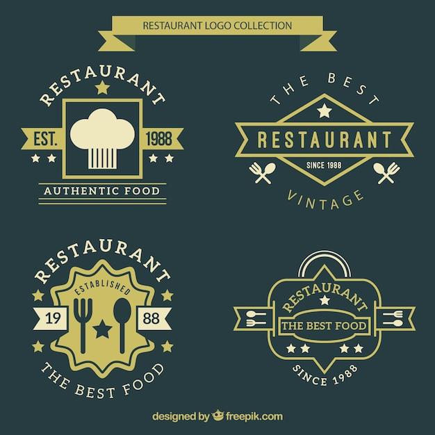 vintage restaurant logo collection vector premium download
