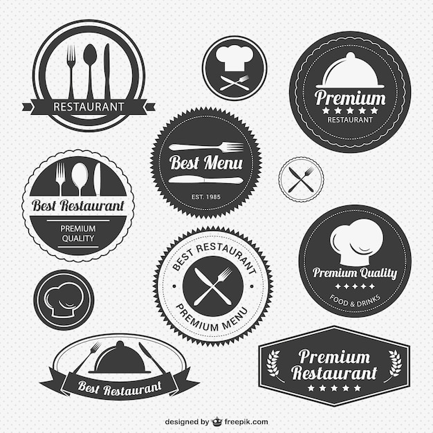 Vintage restaurant logo pack vector free download