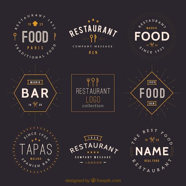 Vintage restaurant logos collection Premium Vector