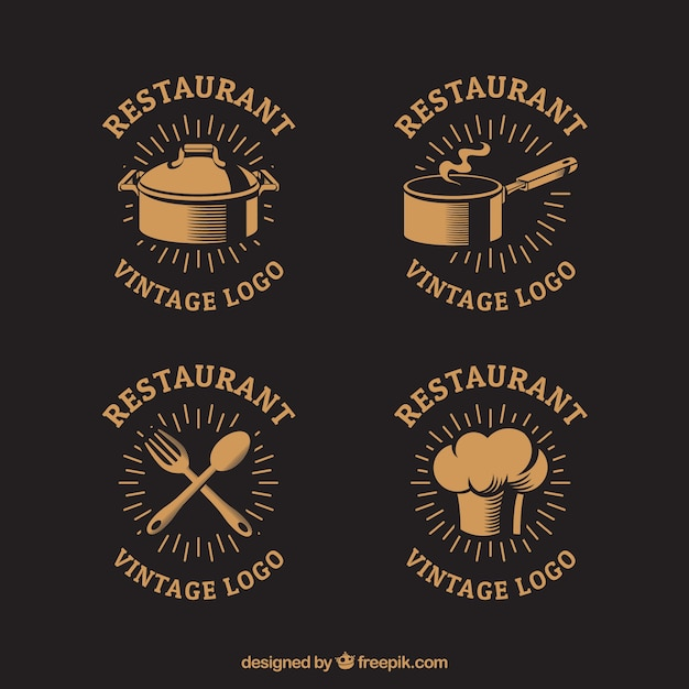 vintage restaurant logos with classic style vector free