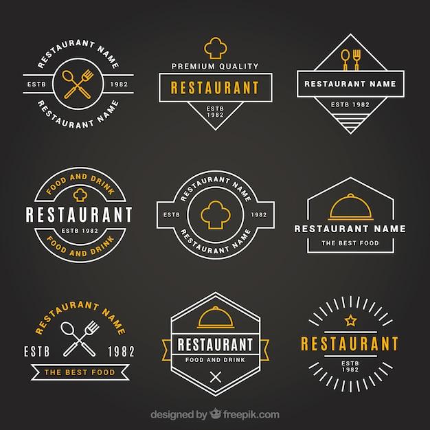 Vintage restaurant logos with elegant style Free Vector