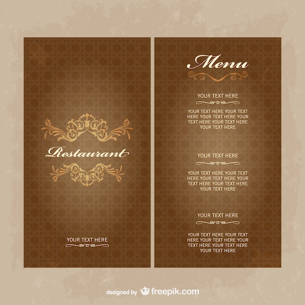 Vintage restaurant menu template in brown tones vector