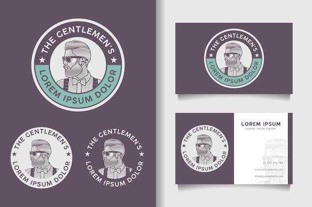 Винтажный ретро значок бородатый мужчина логотип и шаблон визитной карточки Premium векторы