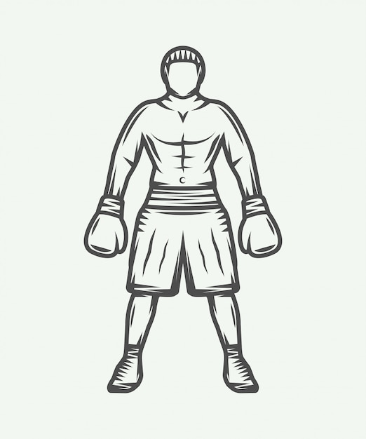 Vintage retro boxer illustration Premium Vector