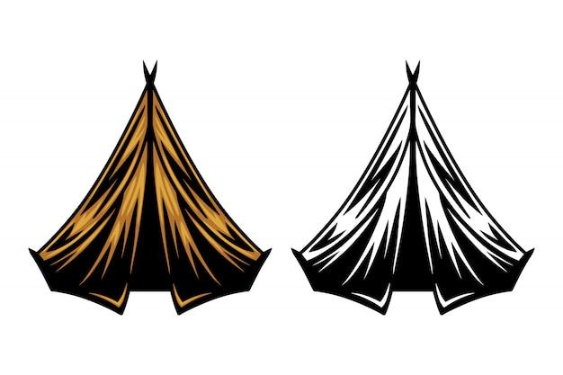 Урожай ретро кемпинг палатка изолированные векторная иллюстрация Premium векторы