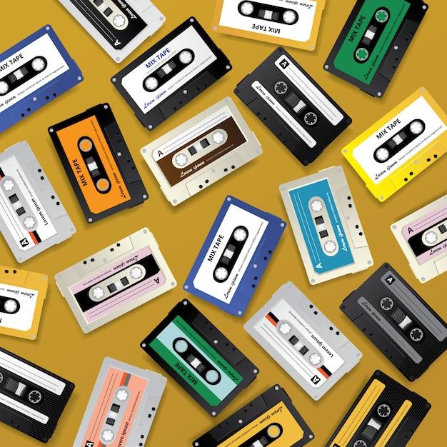 Vintage retro cassette tape background Premium Vector