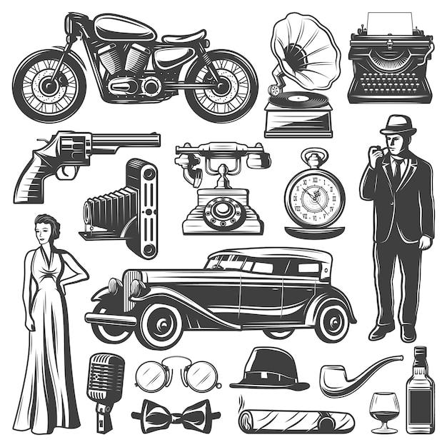 Vintage retrò elementi impostati con gentiluomo donna pistola macchina fotografica automobile moto grammofono macchina da scrivere orologi telefono microfono cappello cigaro whisky isolato Vettore gratuito