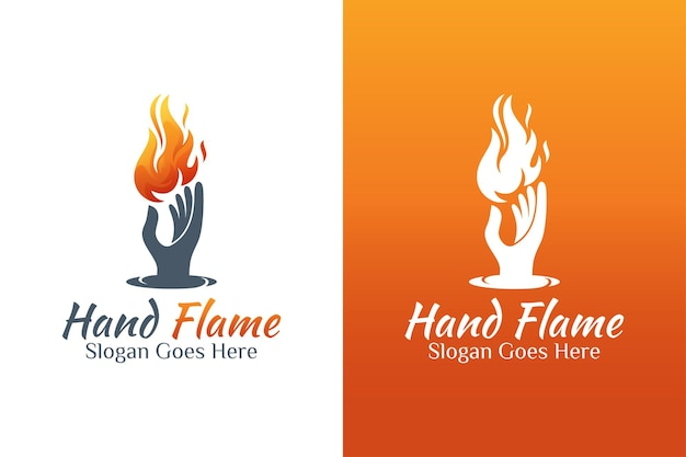 Vintage retro fire or flame and hand energy care logo for bravery, fire care, torch flame symbol Premium Vector
