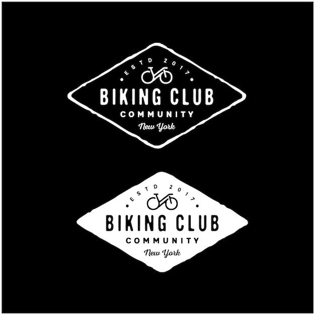 Vintage retro hipsterサイクリングクラブのロゴ Premiumベクター