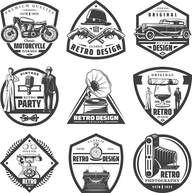 Винтажные ретро этикетки с мотоциклом, автомобильным оружием, шляпа, джентльмен, женщина, пишущая машинка, граммофон, сигаро, камера, телефон, стакан виски, изолированные Бесплатные векторы
