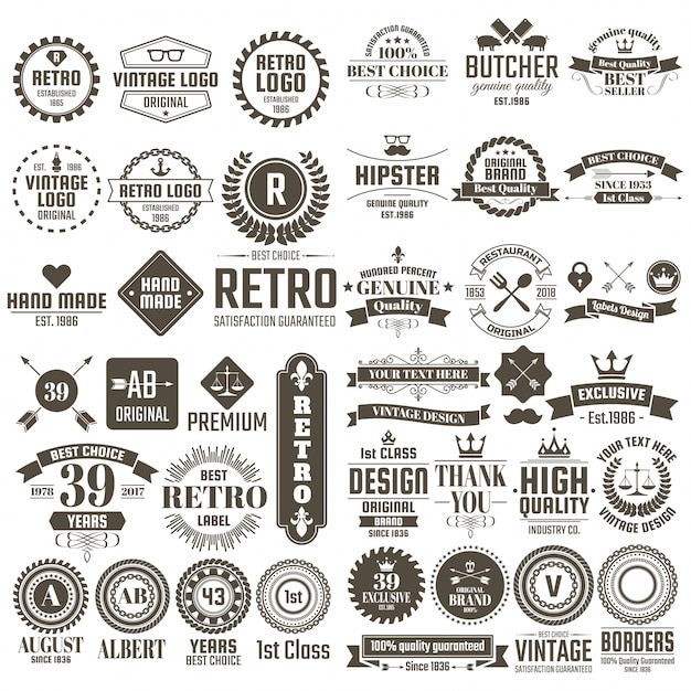 Was Ist Vintage vintage retro logo for vector premium