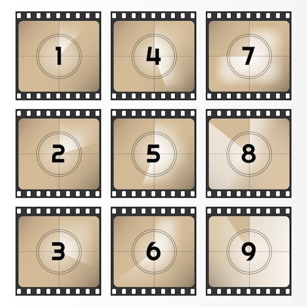 Урожай ретро фильм. обратный отсчет отсчитывается от 0 до 9. иллюстрация обратного отсчета пленки. старый фильм. иллюстрации. Premium векторы