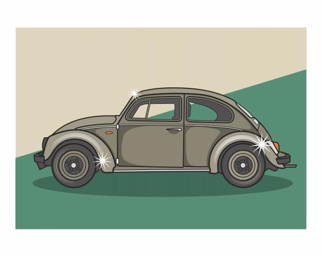 Vintage retro old school classic beetle car Vector | Premium ...