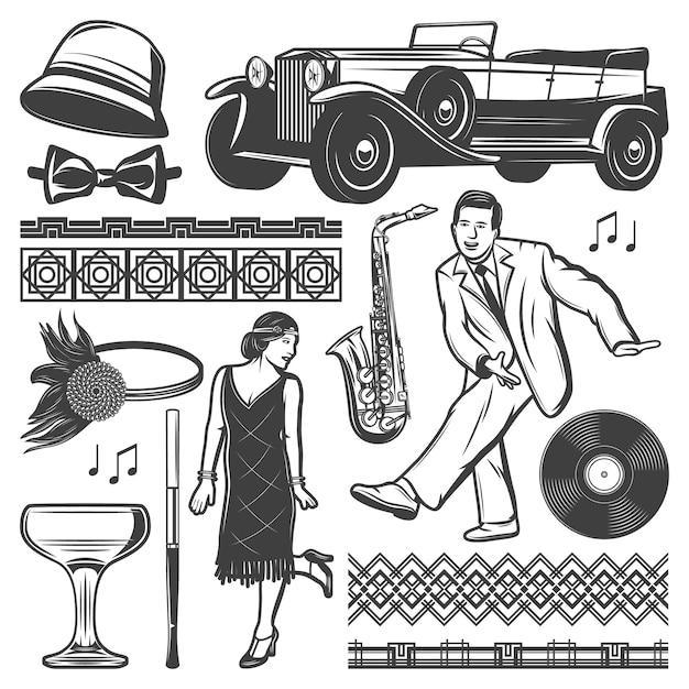 Винтажные ретро элементы вечеринки с танцующими мужчинами женщинами классический автомобиль женские головные уборы мундштук рюмки виниловые узоры саксофона изолированные Бесплатные векторы