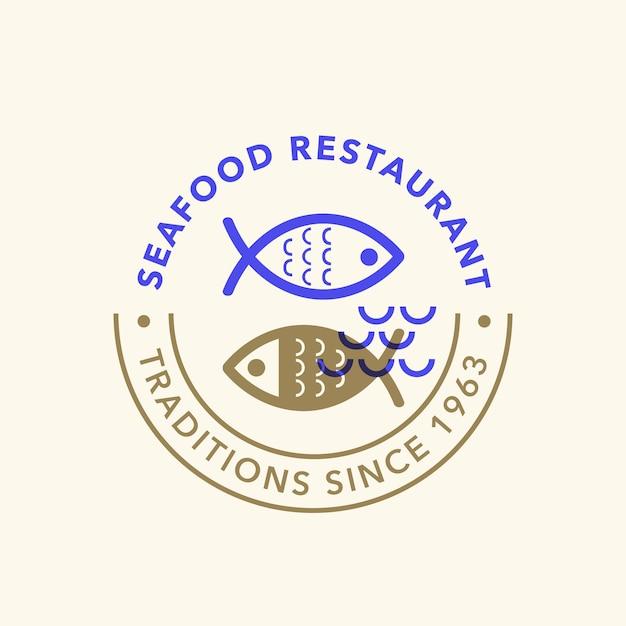 Vintage retro seafoodロゴバッジ 無料ベクター