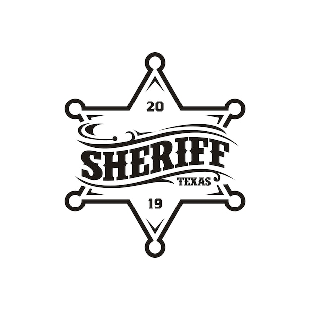 Vintage retro sheriff badge emblem typography logo design Premium Vector