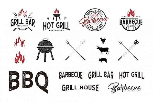 Vintage retro textured bbq grill, barbecue logo element Premium Vector