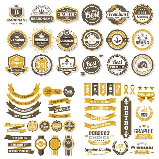 Vintage retro vector logo для баннера Premium векторы