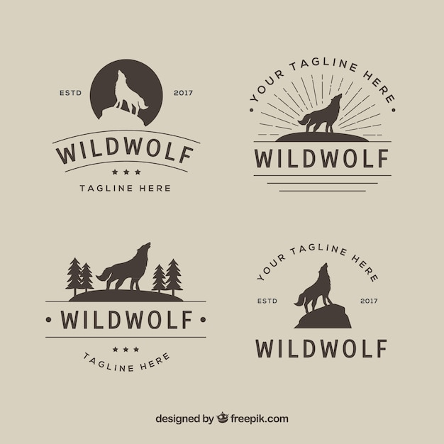 Vintage retro wolf logo collection Free Vector