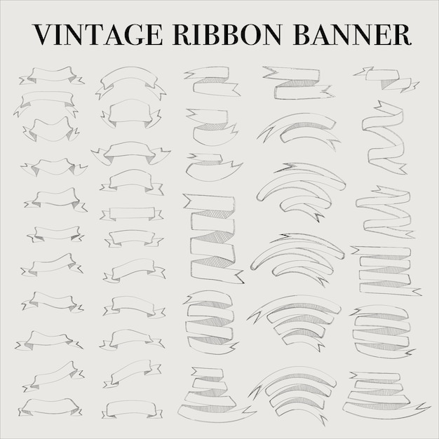 Vintage ribbon outline banner elements set Premium Vector
