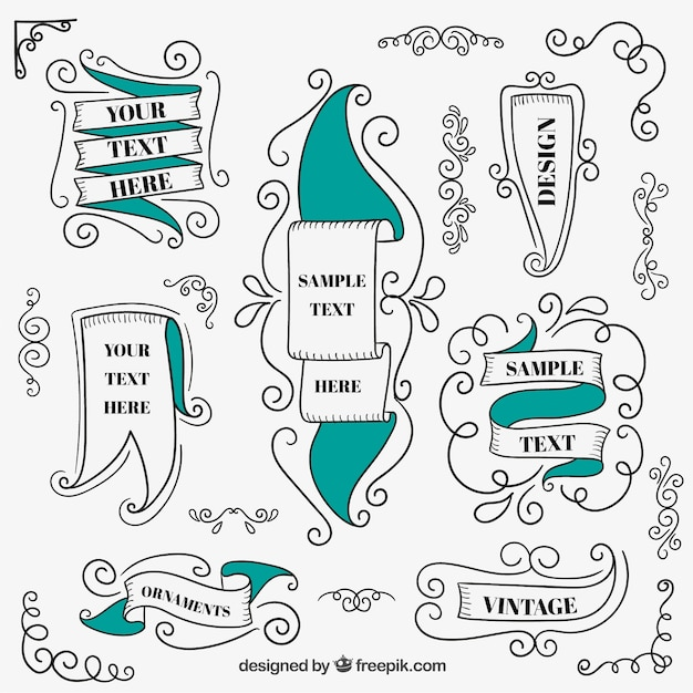 Vintage ribbons collection Free Vector