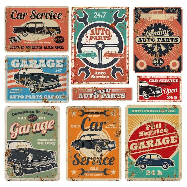 Premium Vector Vintage Road Vehicle Repair Service Garage And Car Mechanic Advertising Vector Metal Signs