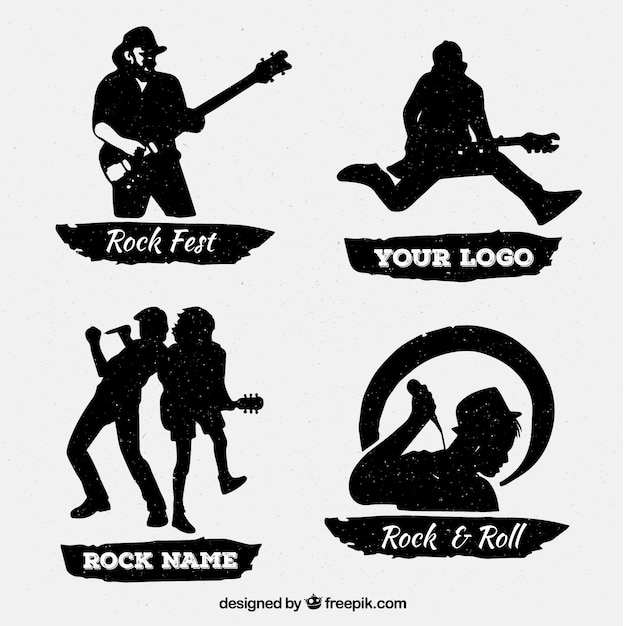 Vintage rock logo collection Free Vector