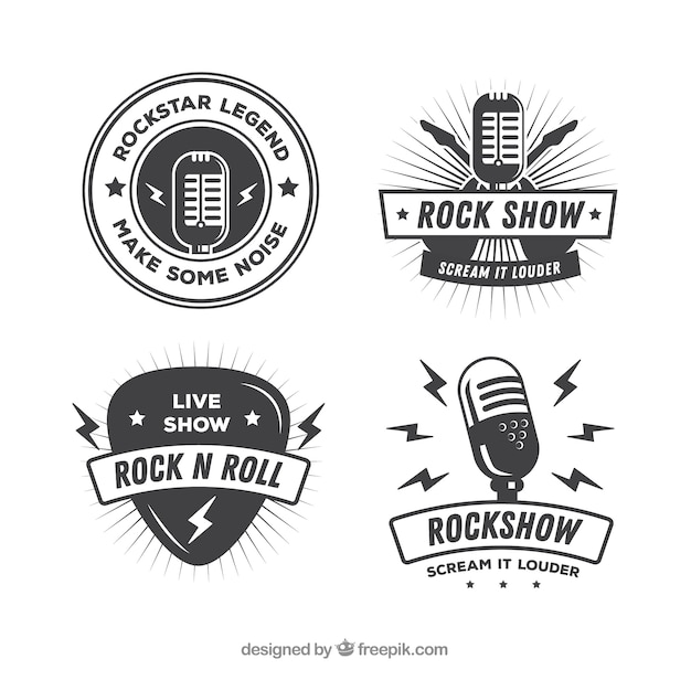 Vintage rock logo collection Free Vector