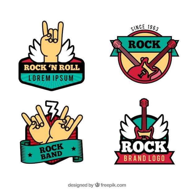 Коллекция vintage rock logo Бесплатные векторы