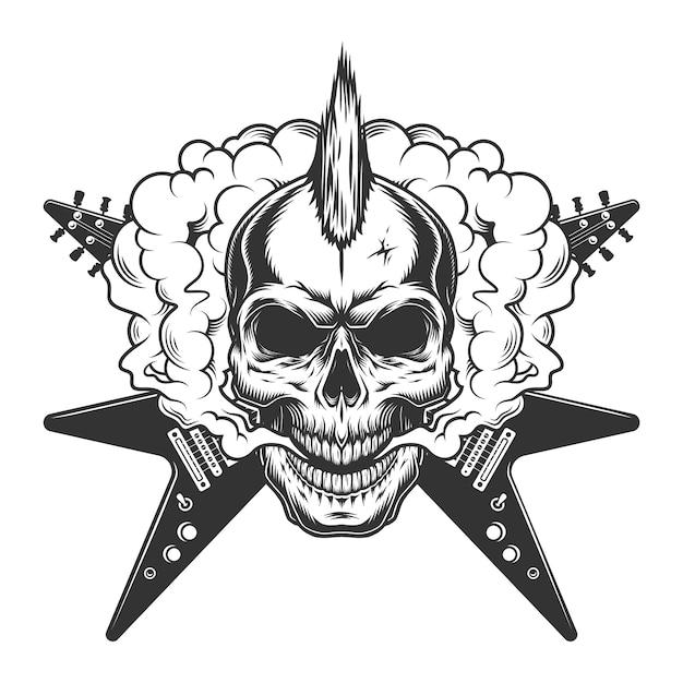 Cranio di musicista rock vintage con mohawk Vettore gratuito