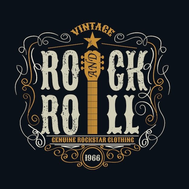 Vintage rock and roll typograpic for t-shirt . Premium Vector