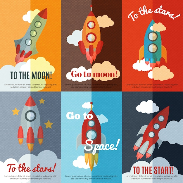 Vintage rocket flat banners composition poster Free Vector