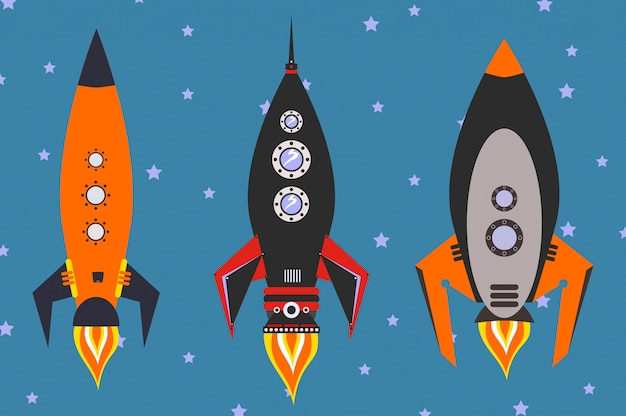 Vintage rockets vector set, flat design style Premium Vector