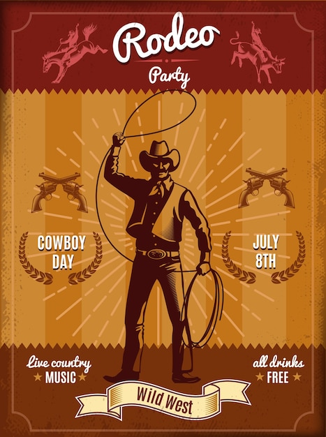 Vintage rodeo poster with cowboy throwing lasso and wild west elements Free Vector