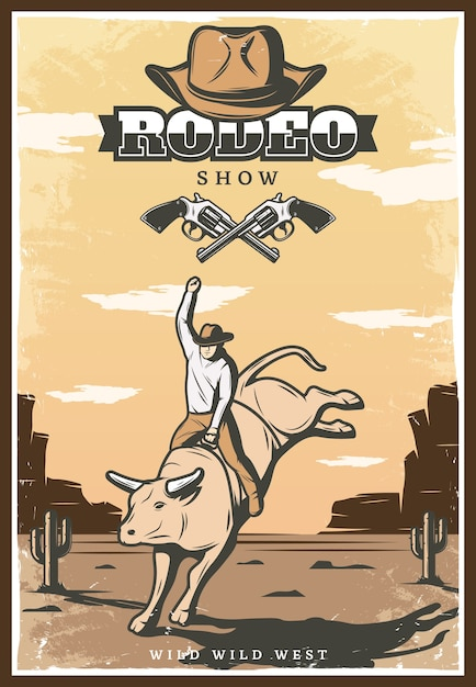 Vintage rodeo show illustration Free Vector