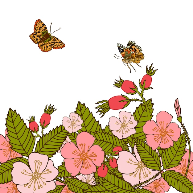 Vintage romantic abstract summer flower branches background with flying butterflies vector illustration. Premium Vector