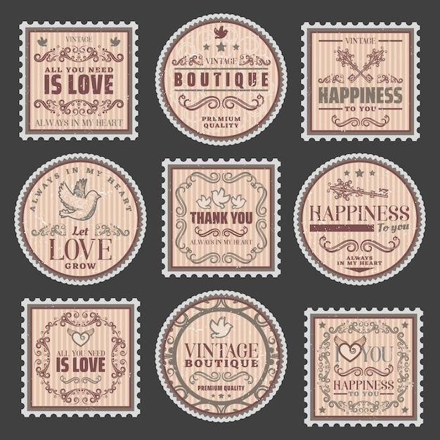 Винтажные романтические цветные марки с любовными надписями элегантные рамки красивые виньетки Бесплатные векторы