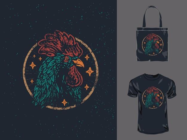 Vintage rooster head apparel design illustration Premium Vector