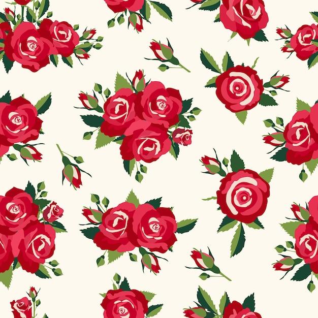ヴィンテージのバラのパターン、愛のデザインのレトロなスタイルの背景 無料ベクター