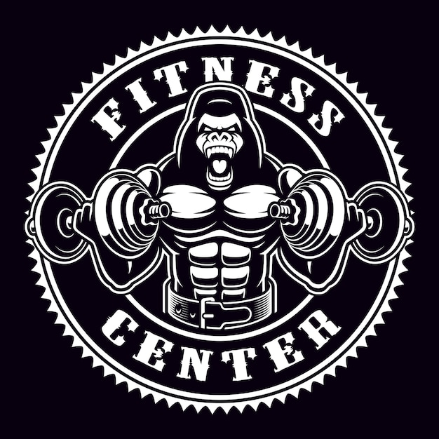 Vintage round badge of a gorilla bodybuilder with dumbbells. emblem for gym theme. text is on the separate group. Premium Vector