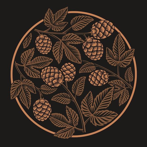 빈티지 라운드 홉 패턴, 어두운 배경에 맥주 테마 디자인 프리미엄 벡터